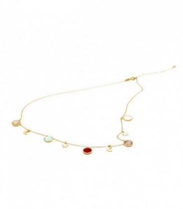 Golden necklace Stones Colors