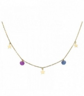 Necklace with stars and quartz crystal colored stones. Gold 18K