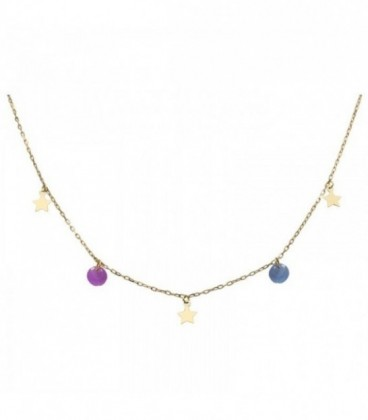 Necklace with stars and quartz crystal-colored stones