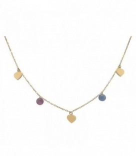 Necklace with hearts and stones in quartz crystal color. Gold 18K
