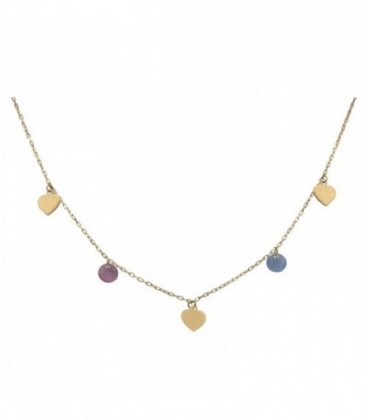 Necklace with hearts and stones in quartz crystal colour
