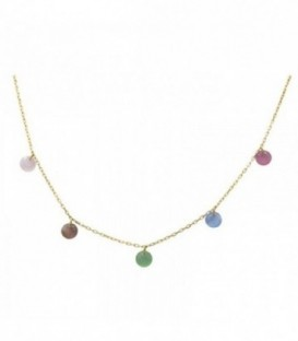 Necklace with quartz crystal colored stones. Gold 18K