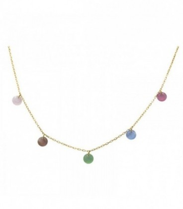 Quartz crystal-colored stone necklace