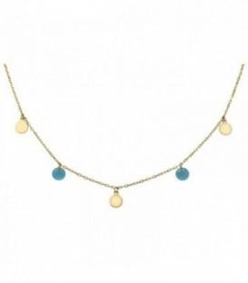 Gargantilla con círculos y piedras en color de cristal de cuarzo. Oro 18K