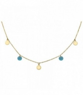 Necklace with quartz crystal-colored circles and stones. Gold 18K