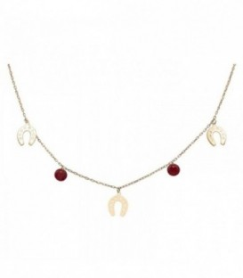 Necklace with horseshoes and quartz crystal colored stones. Gold 18K