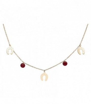 Necklace with horseshoes and quartz crystal-colored stones