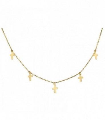 18K gold crossed necklace