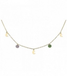 Golden Necklace with moons and colorful stones. Gold 18K