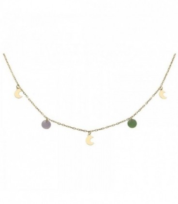 Golden necklace with moons and colorful stones