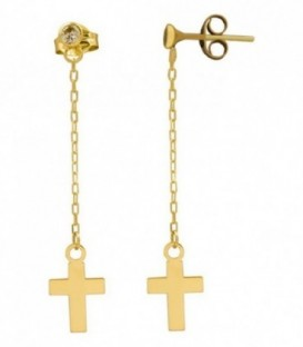 Long earrings with zirconia and chain with 18k gold cross