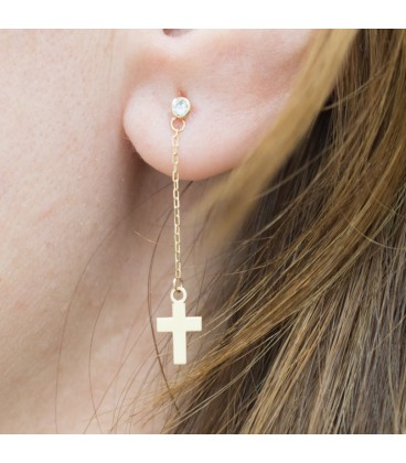 Long earrings with zirconia and chain with gold cross