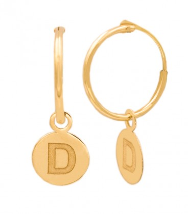 18K Gold Hoop Earrings with Circle and Letter