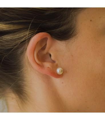 Boucles d'oreilles en perle avec zircon