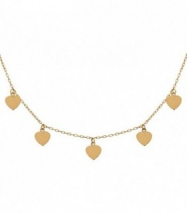 Necklace Charms hearts 18k gold with adjustable chain