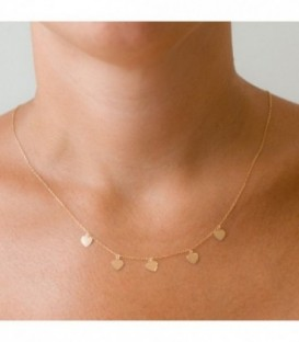 Choker Charms hearts 18k gold with adjustable chain