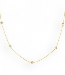 Necklace with five zirconia in 18K gold