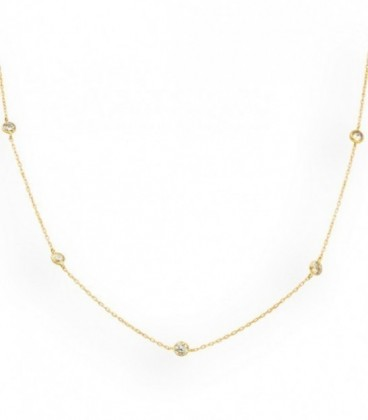 Golden necklace with zirconia