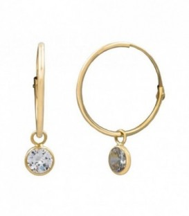 Hoop earrings with zirconia and closure in 18K gold