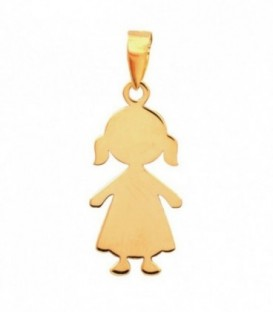 Pendant Figure Girl with two ponytails 18K