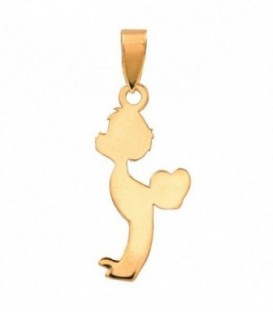 Child Figure Pendant with 18K Heart