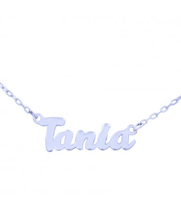 White gold necklace with name