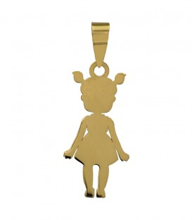 Girl pendant with 18k gold ponytails
