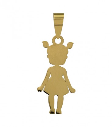 Colgante niña con coletas oro 18k