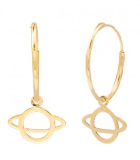 18k Gold Saturn Hoop Earrings