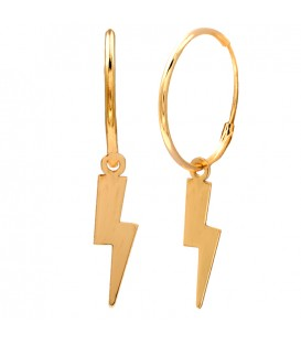 Hoop Earrings with 18k Gold Lightning