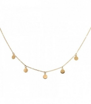 Necklace with 18K gold circles