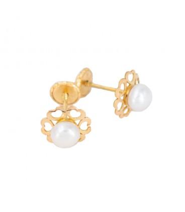 18k Gold Pearl Earrings