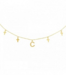 Necklace with initial in zirconia and crosses