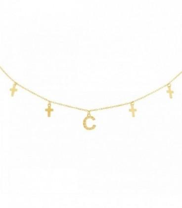 Collier avec initiale en zirconia et croix