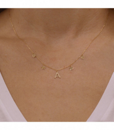 Necklace with your initial and stars