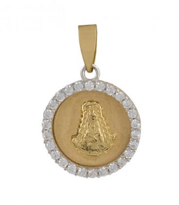 Médaille de la Vierge de Rocio en or bicolore 18K entourée de zircons sur l'extérieur