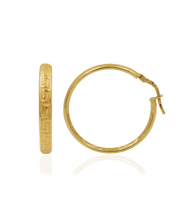 Gold hoop earrings with fret design