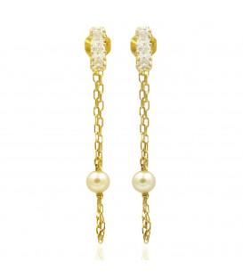 Boucles d'oreilles chaîne et perles
