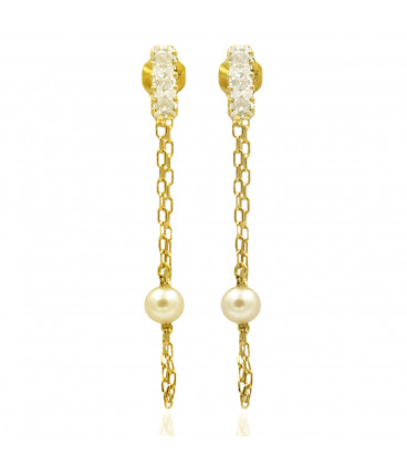 Chain and pearl earrings