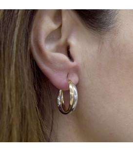 Large two-tone hoop earrings