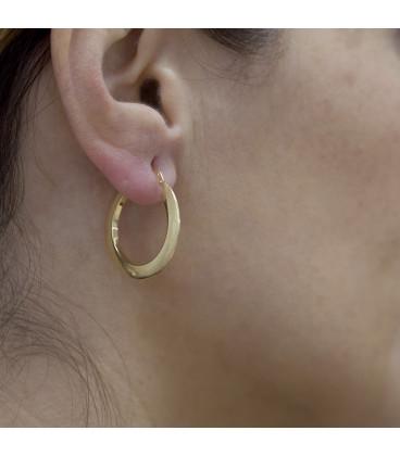 Large triangular tube hoop earrings