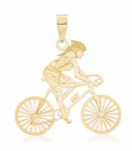 Colgante con mujer ciclista oro 18K