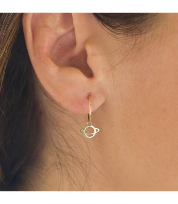 18k Gold Saturn Hoop Earrings