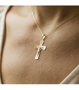 Colgante cruz de Trinidad oro 18K