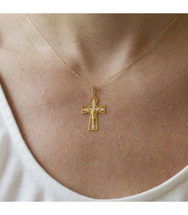Colgante doble cruz en oro 18K