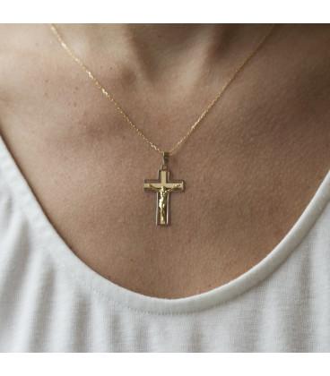 Colgante cruz de oro de 18k bicolor