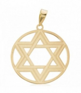 Colgante Estrella de David sobre círculo