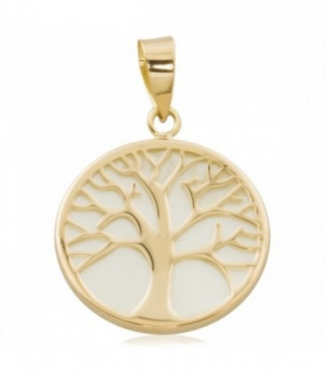Gold Tree of Life pendant with mother-of-pearl