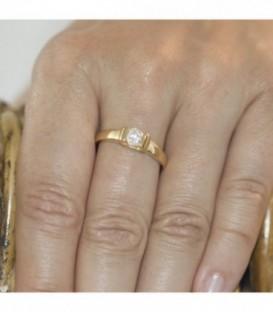 Solitario Mujer en oro con circonita