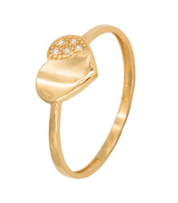 18K Gold Ring with Heart and Zirconia Set